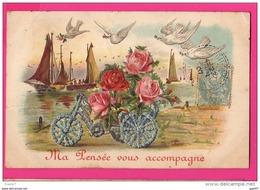 CPA Gaufrée (Réf : (PA163) Bouquet De Roses, Colombes Et Voiliers - Phantasie