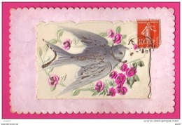 CPA Gaufrée (Réf : (PA169) L'hirondelle Du Printemps Avec Roses (Petit Dépliant Avec Des Vers) - Phantasie