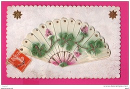 CPA  (Réf : (PA171) Bel éventail Multifeuilles Avec Treffle à Feuilles Et Roses - Phantasie