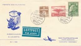 Danmark / Indonesia - 1958 - 3 Stamps On SAS First Flight From Kobenhavn To Djakarta - Denemarken