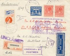 Nederland - 1938 - 4 Zegels (3x Roltanding) Op KLM First Flight Naar Sydney - Unknown - Returned Groningen En Twello - Heftchen Und Rollen