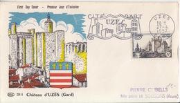 FDC N° 1099 Uzès (Château Et Remparts), Obl. Flamme Uzès (Cité D'Art Uzès, Dessus Des Remparts) Le 27/4/57 - 1950-1959
