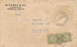 Curacao - 1929 - 2x20 Cent Port P26 Op Taxed Unfranked Businesscover From Caracas / Venezuela - Niederländische Antillen, Curaçao, Aruba