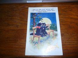 Carte Postale Fantaisie Illustrateur Chat Chaton Kat Cat Amoureux Sous La Lune Sur Un Banc 1er Avril - Chats