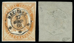 France Télégraphe N° 3 Obl. - Signé Calves - Cote 325 Euros - Telegraph And Telephone