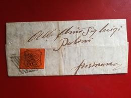 Stato Pontificio,antichi Stati,10 Cent.,su Lettera Manoscritta,rara.annullo A Griglia,v7 - Papal States