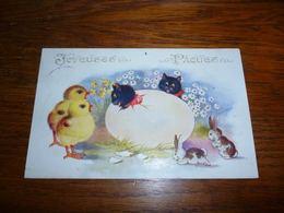 Carte Postale Fantaisie Illustrateur Jos ? Chat Chaton Kat Cat Dans Un Oeuf De Pâques Lapin Poussin Comique Series - Chats