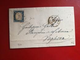 Sardegna,antichi Stati,20 Centesimi ,su Lettera Manoscritta,colore Raro,v9 - Sardinia