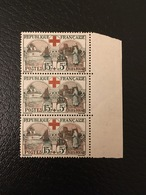 [1226] FRANCE Croix Rouge Red Cross N°156 Bande 3 Timbres Bord Feuille ** - France