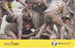 TARJETA DE LAS FIJI DE $3 DE JUGADORES DE RUGBY - Fiji