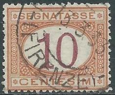 1890-94 REGNO SEGNATASSE USATO 10 CENT - RB31-10 - Portomarken