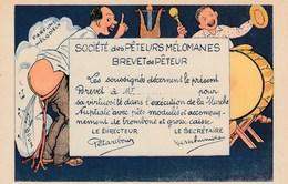 CPA Grivoise Brevet De Pêteur Mélomane Pêt Prout Vent Scatologie Fesses à L' Air Musique Humour Illustrateur (2 Scans) - Humour