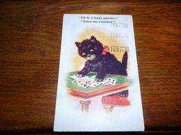 Carte Postale Fantaisie Illustrateur  Chat Chaton Kat Cat Humanisé Joue Aux Cartes Comique Series 7610 - Chats