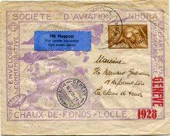SUISSE ENTIER POSTAL PAR AVION SOCIETE D'AVIATION NHORA DEPART CHHAUX-DE-FONDS ? MAI 1928 POUR GENEVE - Posta Aerea
