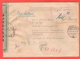 Lettre Prisonnier Guerre Allemand En Tunisie Double Controle Français Allemagne Nazi Croix Gammée + Taxe - 2. Weltkrieg 1939-1945