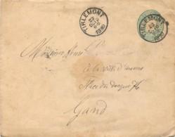 Entier Postal  Enveloppe 10c. Vert Léopold II Oblitérée TIRLEMONT Por Gand 1890 - Postcards [1871-09]
