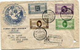 EGYPTE LETTRE RECOMMANDEE DEPART LE CAIRE 28 FE 46 1re EXPOSITION PHILATELIQUE POUR L'EGYPTE - Covers & Documents