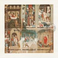 Umm Al Qiwain - 1 Feuillet De 6 Timbres - Tableau Sur La Vie Du Christ - Année 1972 - Mi 515 A à 520 A - Umm Al-Qiwain