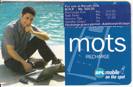 INDIA - Smiling Man With Notebook, Mots By BPL Prepaid Card RS.500, Used - India