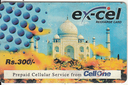INDIA - Tajmahal, Excel By Cell One Prepaid Card RS.300, Used - India