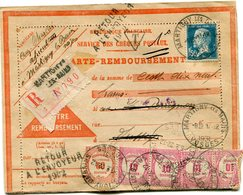 FRANCE CARTE-REMBOURSEMENT RECOMMANDEE DEPART MARTIGNY LES BAINS 17-12-1931 VOSGES RETOURNEE A L'ENVOYEUR ET TAXEE...... - 1922-26 Pasteur