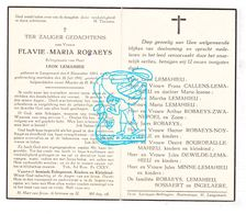 DP Flavie M. Robaeys ° Langemark Poelkapelle 1893 † 1942 X L. Lemahieu / Zwaenepoel Noyelle Bourdeau Bossaert Ingelaere - Images Religieuses