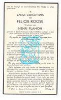 DP Felicie Roose ° Zuidschote Ieper 1868 † Poelkapelle 1940 X Henri Plamon (° Staden ) - Images Religieuses
