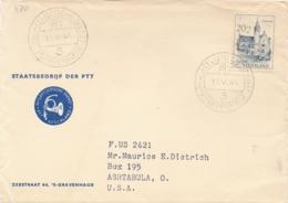 Nederland - 1951 - 20 Cent Kasteel Moermond, Enkelfrankering Op PTT-coverfront Van Den Haag Naar Ashtabula / USA - 1949-1980 (Juliana)