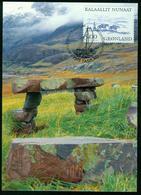 Mk Greenland Maximum Card 2001 MiNr 363 | Greenland Vikings, Man With Packhorses - Cartes-Maximum (CM)