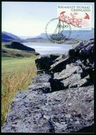 Mk Greenland Maximum Card 2001 MiNr 364 | Greenland Vikings, Stone Wall And Common Raven - Cartes-Maximum (CM)