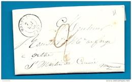 Orne - Mortrée Pour Les Forges D'Orthe Par St Martin De Connée (Mayenne). CàD Type 15 + Taxe Manuscrite 2 - Marcofilia (sobres)