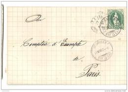 """Suisse - St Gall (St Gallen) Pour Paris. Cachet Ambulant """"BELFORT A PARIS"""". 1882 - 1877-1920: Periodo Semi Moderno"""