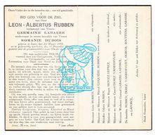 DP Oudstrijder - Leon Albertus Rubben ° Ieper 1890 † 1944 X G. Labaere Xx R. Dubois / Moniez Laforce Derez Bouttens - Images Religieuses