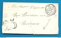 Gironde - St André De Cubzac Pour Bordeaux. CàD Type 15 + Taxe Tampon 25. 1854 - Marcofilia (sobres)