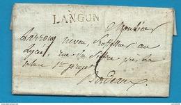 Gironde - Langon Pour Un Professeur Au Lycée à Bordeaux. LAC De 1815. Cote 45e - Marcofilia (sobres)