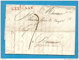 Aude - Lézignan Pour Bordeaux. LAC De 1818 écrite à FERRALS - Marcofilia (sobres)