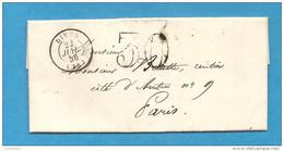 Calvados - Dives Pour Paris. LAC De 1856. CàD Type 15 + Taxe Tampon 30 - Marcofilia (sobres)