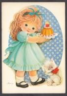 93030/ ENFANTS, Illustrateur VIVES, Fillette Avec Un Gâteau D'anniversaire Et Un Chat - Disegni Infantili