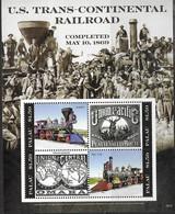 PALAU, 2019, MNH, TRAINS,  US TRANSCONTINENTAL RAILWAY, DEER, SHEETLET - Trains