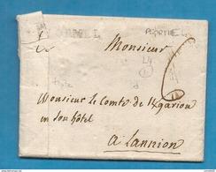 Morbihan - Ploermel Pour Lannion (Cotes Du Nord). MP Lenain N°4. LAC - Marcofilia (sobres)