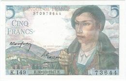Francia - Francia 5 Francs 30-10-1947 Pk 98 B Firmas P. Rousseau Y P. Gargam Ref 3088-1 - 1871-1952 Antichi Franchi Circolanti Nel XX Secolo