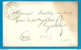 Seine Et Marne - Faremoutiers Pour Paris. CàD Type 12 + Taxe Tampon 3 - 1801-1848: Précurseurs XIX