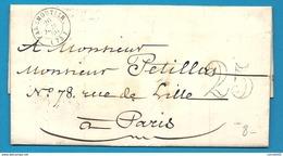 Seine Et Marne - Faremoutiers Pour Paris. CàD Type 15A + Taxe Tampon 25. Enveloppe De 1850 - 1801-1848: Précurseurs XIX