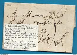 Ille Et Vilaine - St Malo Pour Angers (maine Et Loire). LAC De 1816 - Marcophilie (Lettres)