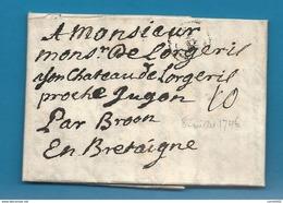 Gironde - Bordeaux Pour Le Chateau De Lorgeril Proche Jugon Par Broon. LAC De 1746 - 1701-1800: Précurseurs XVIII