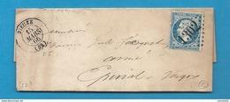 Meurthe - Dieuze Pour Epinal (Vosges). GC + CàD Type 15 - Marcophilie (Lettres)