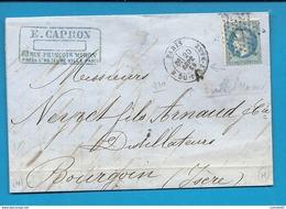 Paris - Etoile 17 - R. DU -PONT-Neuf. Indice 10   Pour Des Distillateurs à Bourgoin (Isère) - 1849-1876: Periodo Classico