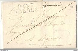 Hautes Pyrénées - Tarbes Pour L'Eveque De Bayonne (Basses Pyrénées). LAC De 1818 écrite à LUZ. VIALA /Betpouey - Marcofilia (sobres)