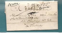 """Hautes Pyrénées - Tarbes Pour Toulouse (Haute Garonne). LAC En Port Payé De 1824. Mention """"Port Payé"""", """"Franc"""" / LUZ - Marcofilia (sobres)"""