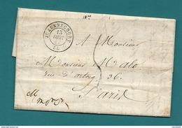 Haute Marne - Juzennecourt Pour Paris. LAC De 1847 - Postmark Collection (Covers)